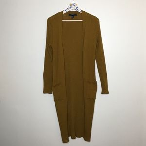 Forever21 Golden brown ribbed long duster cardigan